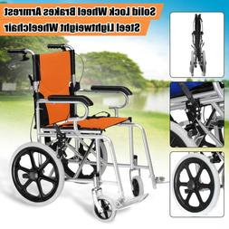 16 INCH Folding Steel <font><b>Wheelchair</b></font> Lightwe