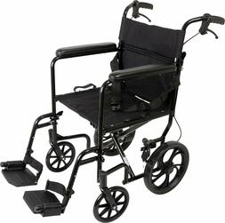 "19-inch Transport Aluminum Wheelchair,12"" Wheels - Swing-Awa"