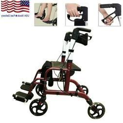 2 in 1 Aluminum Folding Upright Medical Walker Rollator Tran