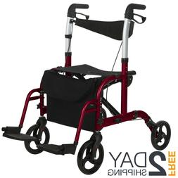 2 in 1 Rollator Wheelchair Walker Combo Combination Translat