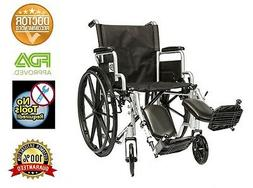 "20"" Lightweight Manual Wheelchair Folding Detachable Arms +"