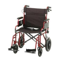 "NOVA Medical Products 22"" Heavy Duty Transport Bariatric Red"