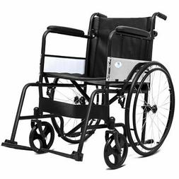 "24"" Folding Lightweight Transport Wheelchair Foldable Backre"