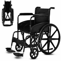 Goplus 24'' Lightweight Foldable Medical Wheelchair w/ Footr