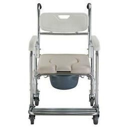 3-in-1 Commode Wheelchair Bedside Toilet & Shower Chair Bath