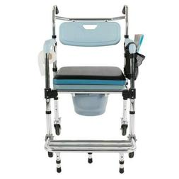 4 In 1 Aluminum Wheelchair Bedside Toilet Seat Transport Cha
