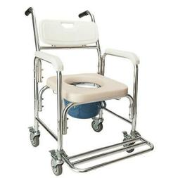Shower Commode Wheelchair Toilet and Bedside Transport Chair
