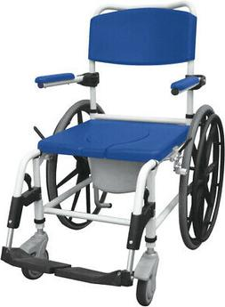Drive Medical Aluminum Shower Commode Mobile Chair - Blue
