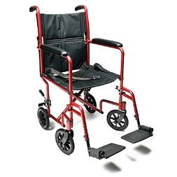 Everest & Jennings Aluminum Transport Chair, Red, 19 in Seat