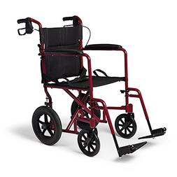 "Caremax Aluminum Transport Chair with 12"" Wheels and Handbra"