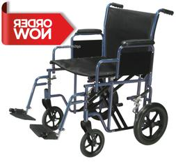 Bariatric Heavy Duty Transport Wheelchair with Swing Away Fo