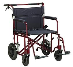 "22"" Bariatric Transport Chair with 12"" Rear ""Flat Free"" Whee"