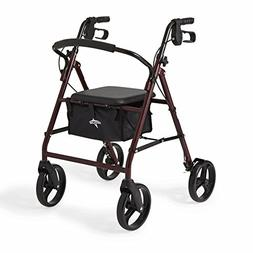 Medline Standard Adult Steel Folding Rollator Walker Aid wit