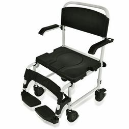 Bathroom Shower Toilet Commode Wheelchair w/ Drop Arms Patie