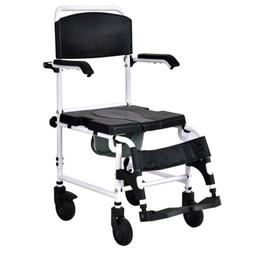 Bathroom Shower Toilet Commode Wheelchair with Drop Arms & L