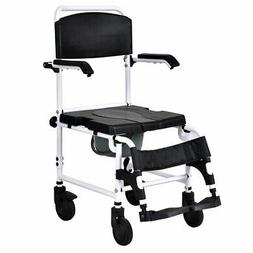 Bathroom Toilet Commode Wheelchair with Drop Arms