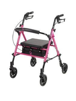 Drive Medical Breast Cancer Awareness Adjustable Height Pink