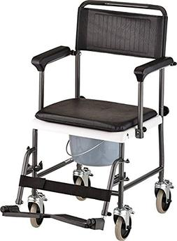 Caremax Drop Arm Transport/ Wheelchair Commode With Wheels a