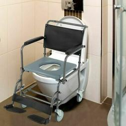 Durable Medical Transport Toilet Commode Wheelchair w/Lockin