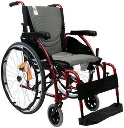 Karman Ergonomic Wheelchair in 18 inch Seat, Red Frame