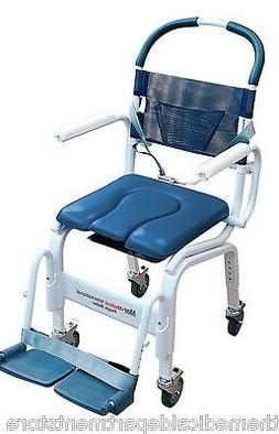 "Euro Deluxe  18"" Commode Wheelchair and Shower Wheelchair  W"