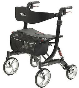 Euro Nitro Black 4 Wheel Heavy Duty Walker Rollator 10266HD-