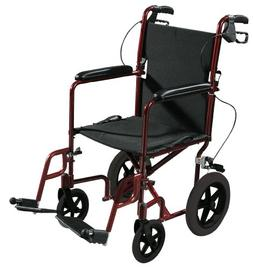 Expedition Aluminum Transport Chair with Loop Locks 19 Red -