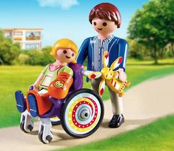 Playmobil Father & daughter in wheelchair 6663 New in bag Va