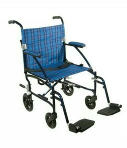 Fly Lite Ultra Lightweight Transport Wheelchair Blue