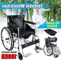 Foldable Folding Wheelchair Lightweight  Mobility Leather Se