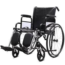 "Giantex Folding Wheelchair Lightweight Wide Seat 18"" with Ha"
