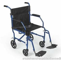 Medline Freedom Ultralight Transport Chair Wheelchair BLUE -