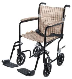 Drive Medical FW19DB Fly-Weight Transport Chair, 19 Inch, Ta