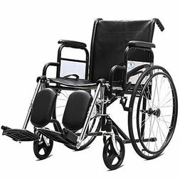 "Goplus 24"" Folding Lightweight Wheelchair Arm Detachable wit"