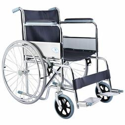 Goplus 24'' Lightweight Foldable Folding Wheelchair w/ Footr
