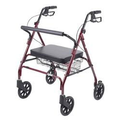 Drive Medical 10215RD-1 Go-Lite Rollator Oversize, Red