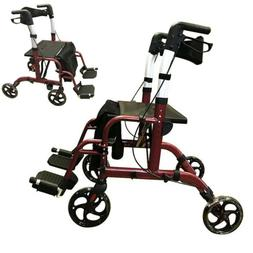 Hybrid 2 in 1 Rollator Walker / Transport Wheelchair With Fo