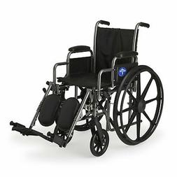 "Medline K2 Basic Wheelchair with 16""x16"" Seat, Elevating Leg"