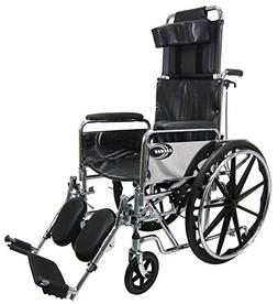 New Karman KN-880  Reclining Wheelchair with Removable Armre