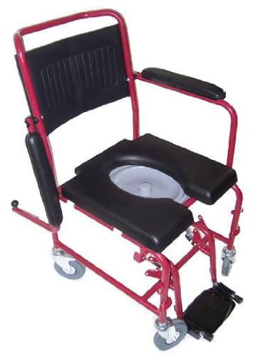 MedMobile® 2-in-1 Commode/Shower Wheelchair with Drop-down Armrests, Rear and Commode Seat