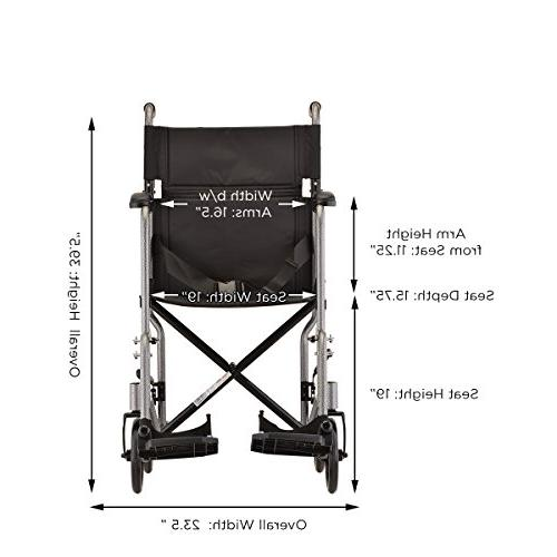 "NOVA Medical Products 19"" Steel Transport Wheelchair,"