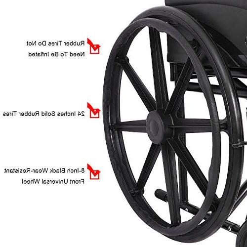 "Giantex 24'' Wheelchair Large 23"" Durable Brakes Footrest FDA Back Wide Arms, Transport Wheelchairs,"