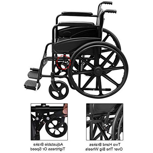 Giantex Wheelchair Durable Wheel Brakes Casters Pockets Footrest FDA Back Wide Padded Arms, Black