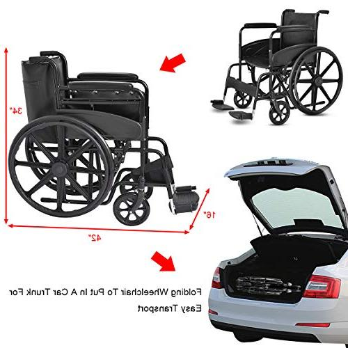 "Giantex 24'' Foldable Medical Wheelchair Durable Brakes 8"" Casters Pockets Footrest FDA Approved Back Arms, Transport Wheelchairs,"