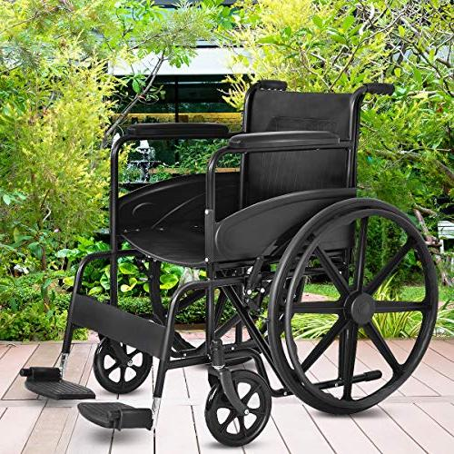 Giantex Wheelchair Durable Rubber Smart Back Arms, Transport