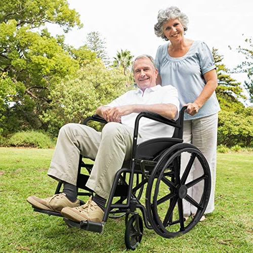 Giantex 24'' Wheelchair Manual, Durable Brakes Casters Footrest FDA Arms, Transport Wheelchairs,