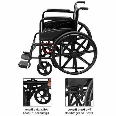 Goplus 24'' Lightweight Foldable Medical Wheelchair w/ FDA Approved