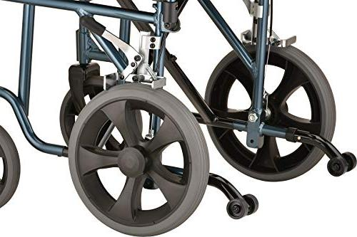 """NOVA Lightweight Transport Chair with 12"""" Rear Flip Up Arms for Easy Transfer,"""