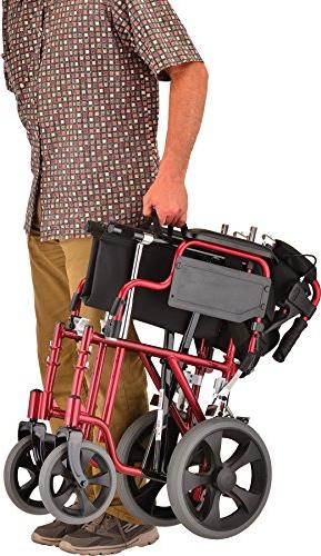 """NOVA Lightweight Transport with Hand Brakes, 12"""" Rear Wheels, Up for Easy Transfer, Anti-Tippers Included,"""