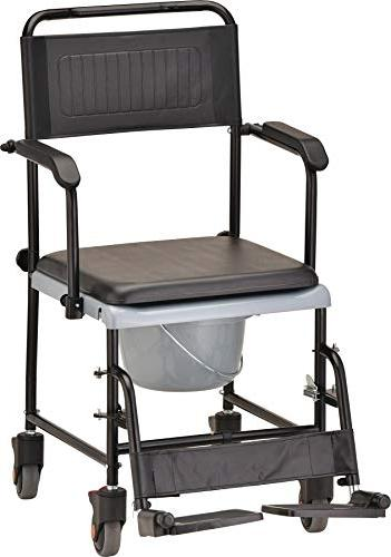 NOVA Drop Arm Transport Commode, Rolling Wheels and Seat